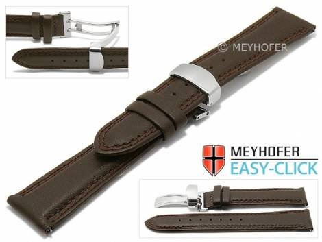Meyhofer EASY-CLICK watch strap -Keystone- 20mm dark brown leather double stitching with clasp (width of clasp 18 mm) - Bild vergrößern