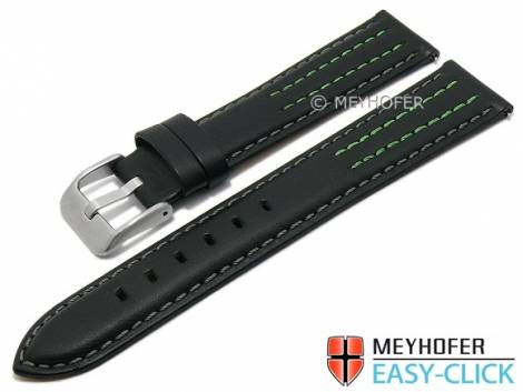 Meyhofer EASY-CLICK watch strap -Lenexa- 20mm black leather smooth grey & green stitching (width of buckle 18 mm) - Bild vergrößern