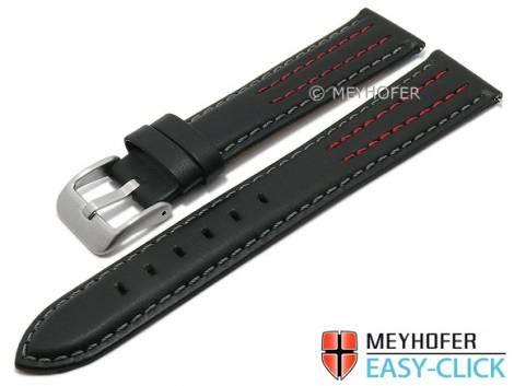 Meyhofer EASY-CLICK watch strap -Lenexa- 20mm black leather smooth grey & red stitching (width of buckle 18 mm) - Bild vergrößern