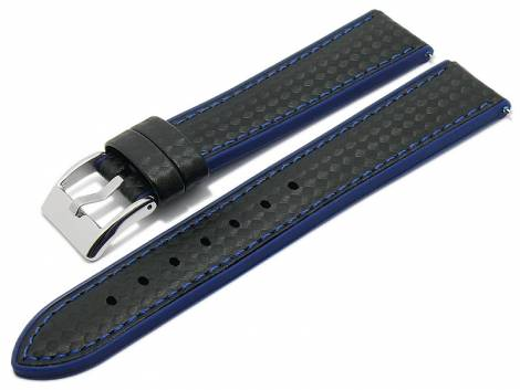 Meyhofer EASY-CLICK watch strap -Chadron- 24mm black/blue leather/silicone carbon look (width of buckle 22 mm) - Bild vergrößern