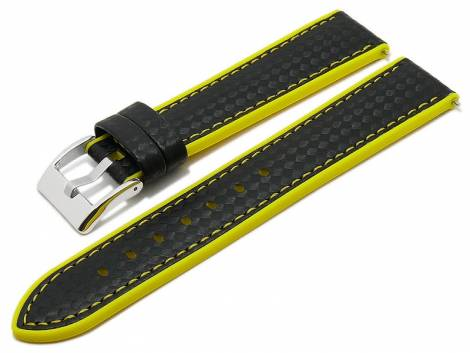 Meyhofer EASY-CLICK watch strap -Chadron- 24mm black/yellow leather/silicone carbon look (width of buckle 22 mm) - Bild vergrößern