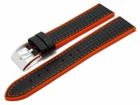 Meyhofer EASY-CLICK watch strap -Chadron- 24mm black/orange leather/silicone carbon look (width of buckle 22 mm) - Bild vergrößern