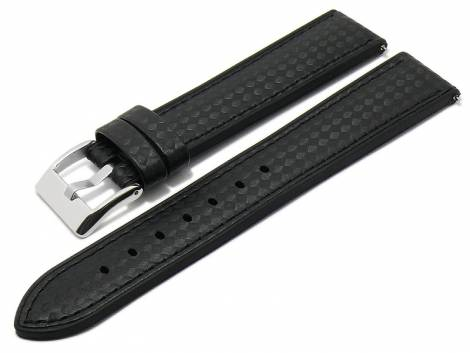 Meyhofer EASY-CLICK watch strap -Chadron- 24mm black leather/silicone carbon look stitched (width of buckle 22 mm) - Bild vergrößern