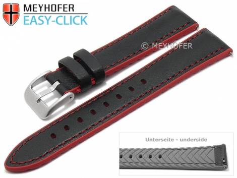 Meyhofer EASY-CLICK watch strap -Ontario- 22mm black leather/silicone smooth red stitching (width of buckle 20 mm) - Bild vergrößern