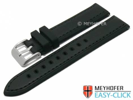 Meyhofer EASY-CLICK watch strap -Tumalo- 20mm black leather/silicone smooth stitched (width of buckle 20 mm) - Bild vergrößern