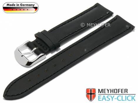 Meyhofer EASY-CLICK watch strap -Landshut- 20mm black SHELL CORDOVAN leather smooth (width of buckle 18 mm) - Bild vergrößern