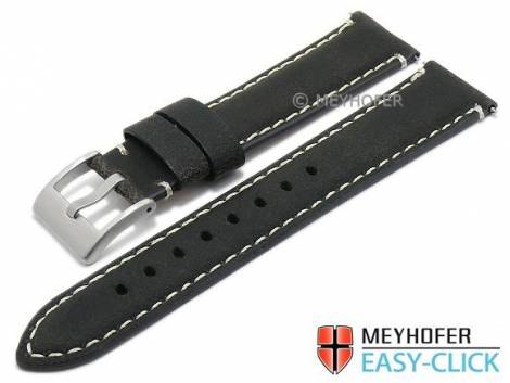 Meyhofer EASY-CLICK watch strap -Yosemite- 24mm black leather vintage look light stitching (width of buckle 22 mm) - Bild vergrößern