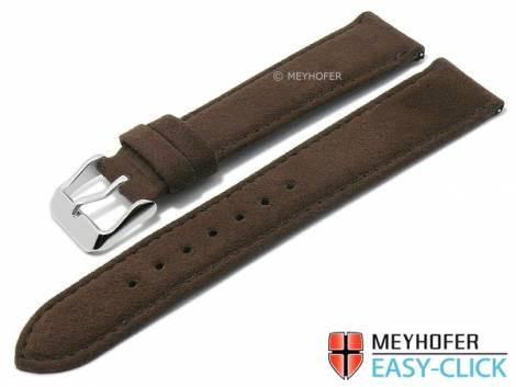 Meyhofer EASY-CLICK watch strap -Wutach- 20mm dark brown VEGAN ALCANTARA suede like (width of buckle 18 mm) - Bild vergrößern