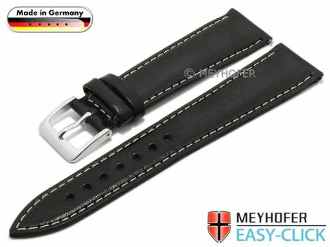 Meyhofer EASY-CLICK watch strap -Rhine- 18mm black leather smooth light stitching (width of buckle 16 mm) - Bild vergrößern