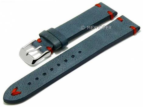 Meyhofer EASY-CLICK watch strap XS -Ashland- 22mm blue leather vintage look red stitching (width of buckle 20 mm) - Bild vergrößern