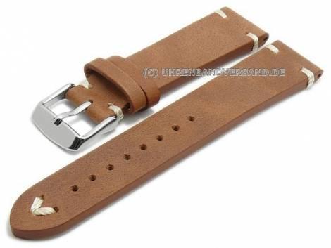 Meyhofer EASY-CLICK watch strap XL -Cumberland- 18mm light brown leather vintage l. stitched (width of buckle 16 mm) - Bild vergrößern
