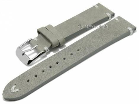 Meyhofer EASY-CLICK watch strap -Portland- 22mm grey leather vintage look light stitching (width of buckle 20 mm) - Bild vergrößern