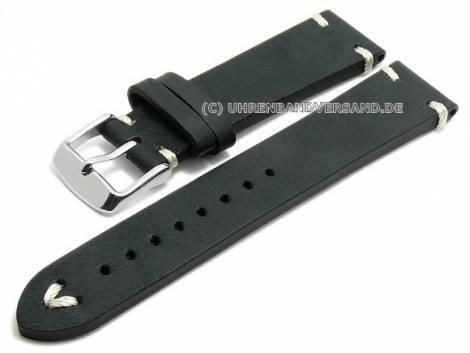 Meyhofer EASY-CLICK watch strap XS -Ashland- 22mm black leather vintage look light stitching (width of buckle 20 mm) - Bild vergrößern