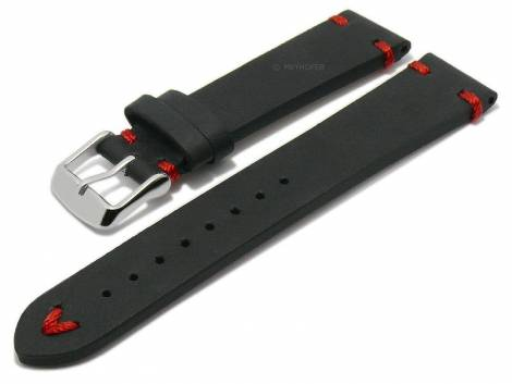 Meyhofer EASY-CLICK watch strap XS -Ashland- 18mm black leather vintage look red stitching (width of buckle 16 mm) - Bild vergrößern