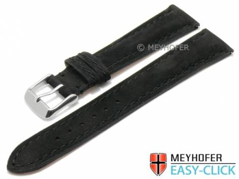 Meyhofer EASY-CLICK watch strap -Yellowstone- 20mm black leather suede like stitched (width of buckle 18 mm) - Bild vergrößern