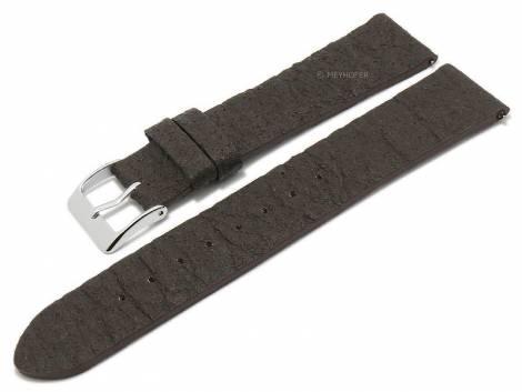 Meyhofer EASY-CLICK watch strap -Waterbury- 20mm dark brown pineapple fibers VEGAN matt (width of buckle 18 mm) - Bild vergrößern
