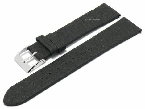 Meyhofer EASY-CLICK watch strap -Waterbury- 20mm black pineapple fibers VEGAN matt (width of buckle 18 mm) - Bild vergrößern