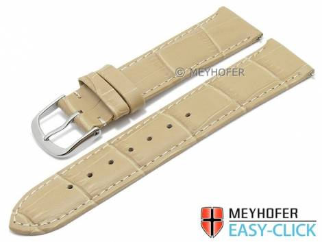 Watch strap Meyhofer EASY-CLICK XS -Biscayne- 20mm beige leather alligator grain stitched (width of buckle 18 mm) - Bild vergrößern