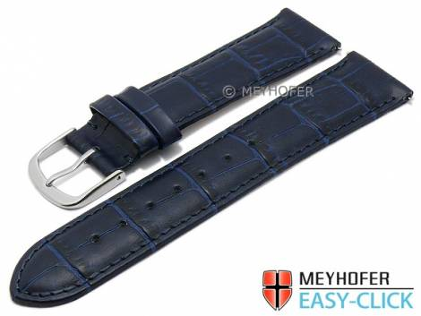 Watch strap Meyhofer EASY-CLICK XS -Biscayne- 18mm dark blue leather alligator grain stitched (width of buckle 16 mm) - Bild vergrößern