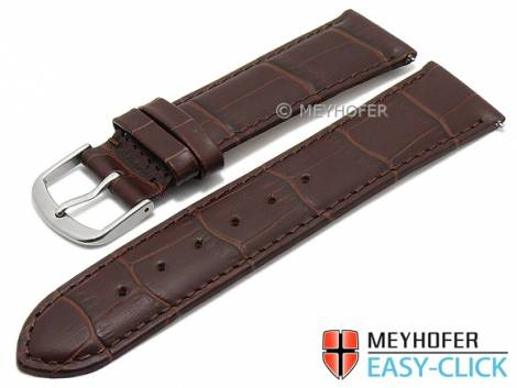 Watch strap Meyhofer EASY-CLICK XS -Biscayne- 22mm dark brown leather alligator grain stitched (width of buckle 20 mm) - Bild vergrößern