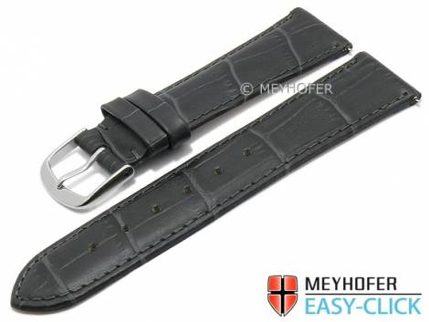 Watch strap Meyhofer EASY-CLICK XS -Biscayne- 20mm dark grey leather alligator grain stitched (width of buckle 18 mm) - Bild vergrößern