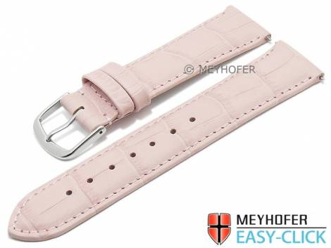 Watch strap Meyhofer EASY-CLICK XS -Biscayne- 16mm pink leather alligator grain stitched (width of buckle 14 mm) - Bild vergrößern