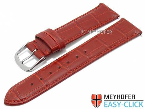 Watch strap Meyhofer EASY-CLICK XS -Biscayne- 22mm red leather alligator grain stitched (width of buckle 20 mm) - Bild vergrößern