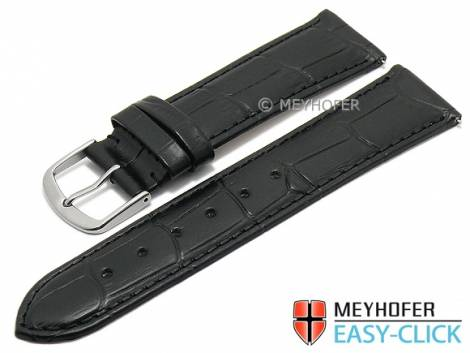 Watch strap Meyhofer EASY-CLICK XS -Biscayne- 16mm black leather alligator grain stitched (width of buckle 14 mm) - Bild vergrößern