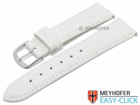 Watch strap Meyhofer EASY-CLICK XS -Biscayne- 20mm white leather alligator grain stitched (width of buckle 18 mm) - Bild vergrößern