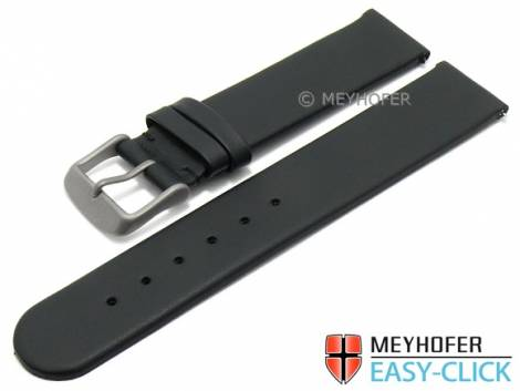 Meyhofer EASY-CLICK watch strap -Saguaro- 20mm black leather with titanium buckle (width of buckle 20 mm) - Bild vergrößern