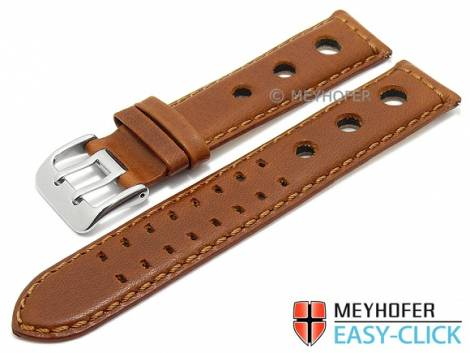 Meyhofer EASY-CLICK watch strap -Arches- 20mm light brown leather vegetable tanned racing look (width of buckle 20 mm) - Bild vergrößern