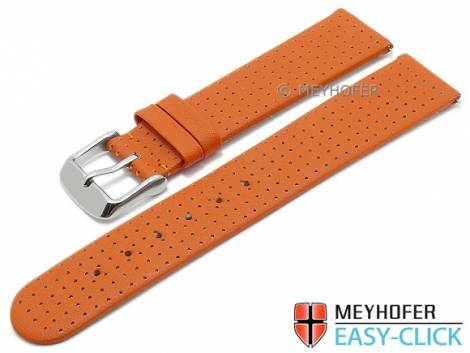 Meyhofer EASY-CLICK watch strap -Adelaide- 20mm orange leather perforated matt (width of buckle 18 mm) - Bild vergrößern