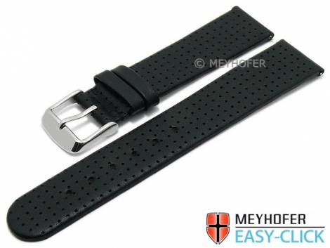 Meyhofer EASY-CLICK watch strap -Adelaide- 18mm black leather perforated matt (width of buckle 18 mm) - Bild vergrößern