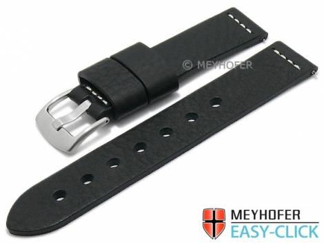 Meyhofer EASY-CLICK watch strap -Redwood- 20mm black leather vintage look light stitching (width of buckle 20 mm) - Bild vergrößern