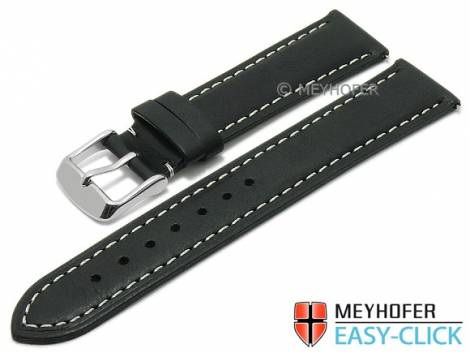 Meyhofer EASY-CLICK watch strap -Bryce- 18mm black leather slightly vintage look light stitching (width of buckle 16 mm) - Bild vergrößern