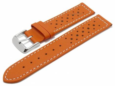 Meyhofer EASY-CLICK watch strap -Alton- 16mm orange leather racing look light stitching (width of buckle 16 mm) - Bild vergrößern