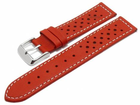 Meyhofer EASY-CLICK watch strap -Alton- 18mm red leather racing look light stitching (width of buckle 18 mm) - Bild vergrößern