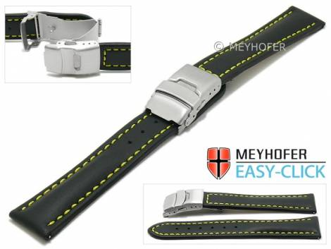 Meyhofer EASY-CLICK watch strap -Paonia Special- 22mm black leather yellow stitching with clasp (width of clasp 20 mm) - Bild vergrößern
