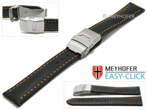 Meyhofer EASY-CLICK watch strap -Paonia Special- 24mm black leather orange stitching with clasp (width of clasp 22 mm) - Bild vergrößern