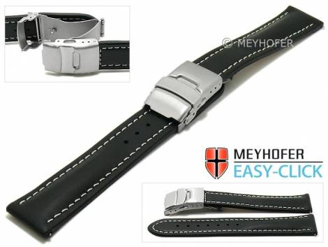 Meyhofer EASY-CLICK watch strap -Paonia- 20mm black leather smooth light stitching with clasp (width of clasp 18 mm) - Bild vergrößern