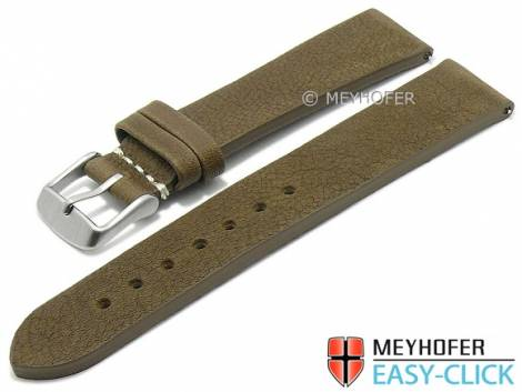Meyhofer EASY-CLICK watch strap -Worland- 24mm military leather grained without stitching (width of buckle 22 mm) - Bild vergrößern