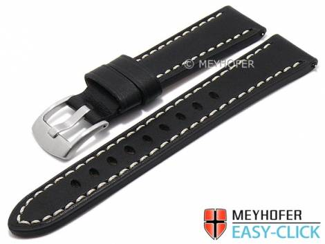 Meyhofer EASY-CLICK watch strap -Carrington- 20mm black leather robust light stitching (width of buckle 18 mm) - Bild vergrößern