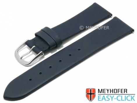 Meyhofer EASY-CLICK watch strap XS -Tampa- 22mm dark blue leather smooth without stitching (width of buckle 20 mm) - Bild vergrößern