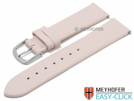 Meyhofer EASY-CLICK watch strap XS -Tampa- 22mm pink leather smooth without stitching (width of buckle 20 mm) - Bild vergrößern