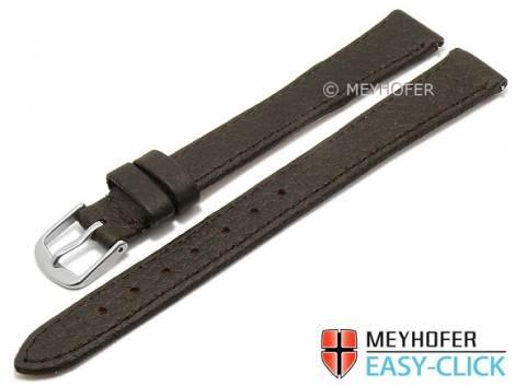 Meyhofer EASY-CLICK watch strap XL -Ludington- 12mm dark brown genuine deer leather grained (width of buckle 12 mm) - Bild vergrößern