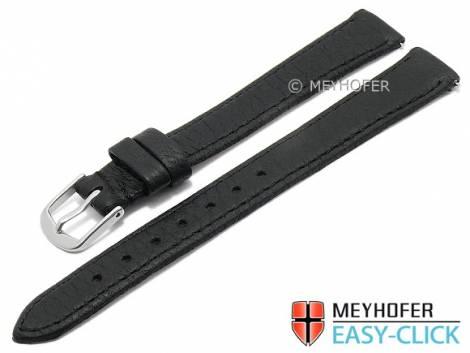 Meyhofer EASY-CLICK watch strap XL -Ludington- 12mm black genuine deer leather grained (width of buckle 12 mm) - Bild vergrößern