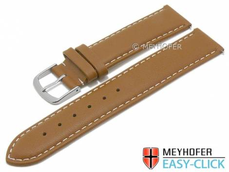 Meyhofer EASY-CLICK watch strap -Amnicon- 23mm light brown leather smooth light stitching (width of buckle 22 mm) - Bild vergrößern