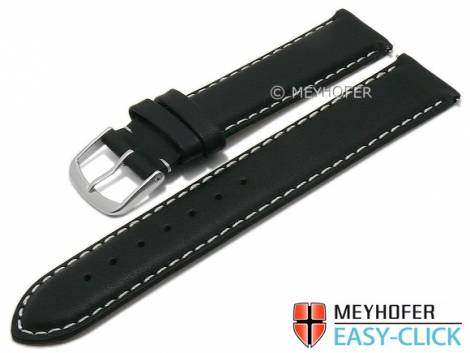 Meyhofer EASY-CLICK watch strap -Amnicon- 20mm black leather smooth light stitching (width of buckle 20 mm) - Bild vergrößern