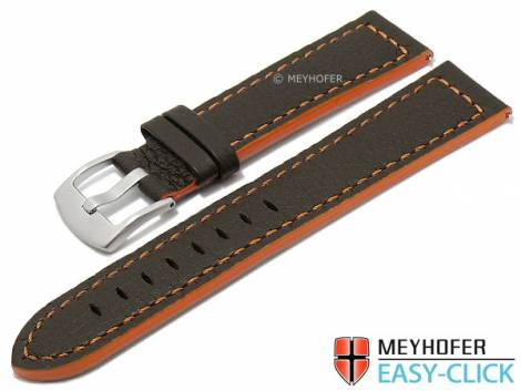 Meyhofer EASY-CLICK watch strap -Blackfalls- 24mm dark brown leather grained orange stitching (width of buckle 22 mm) - Bild vergrößern