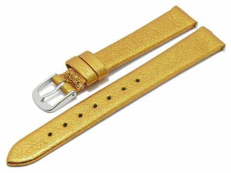 Meyhofer EASY-CLICK watch strap -Washita- 12mm golden metallic leather grained (width of buckle 10 mm) - Bild vergrößern